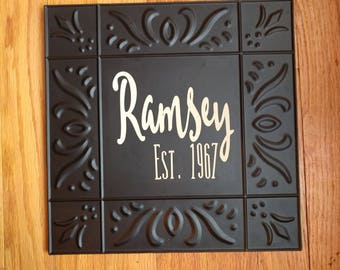 Last Name Sign Metal 11x11 Wedding gift, wedding decor, anniversary gift with est. year