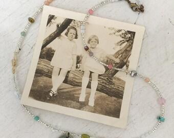 fairyConfetti~upcycled beaded necklace, repurposed beaded necklace, vintage beads, gemstone beads, seed beads, rhinestone pendant