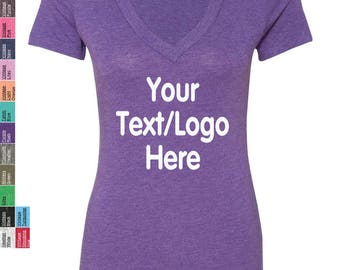 Personalized Next Level Ladies' Triblend Deep V-Neck T-Shirt 6740 Custom Made V-neck T-Shirt with Vinyl or Glitter Print