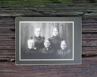 Vintage Black and White Photograph Victorian Grandmothers on Black Mat Board BNW