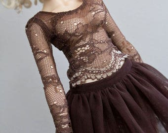 Brown lace shirt for slim Mini Super Dollfie MNF Minifee Luts Fairyland MSD