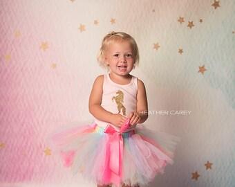 Gold Unicorn Tutu Dress   Rainbow Unicorn Birthday Tutu   Pink Baby Tutu Skirt   Pink Unicorn Tutu by Strawberrie Rose   1st Birthday Tutu
