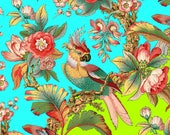antique french chinoiserie tropical wallpaper,tropical bird illustration digital download