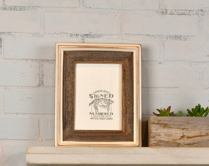 5x7 Picture Frame in Rustic Reclaimed Cedar Build Up Style with Vintage Ivory Finish - IN STOCK - Same Day Shipping - 5 x 7 Frame