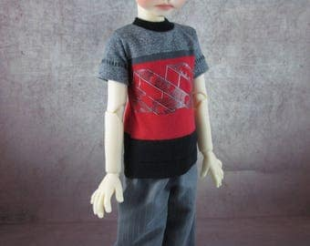 Red and Black T Shirt and Pants for Maurice by Kaye Wiggs MSD BJD Boys