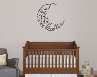 I Love You To The Moon And Back Script - Nursery and Kids Bedroom Quote Wall Decals
