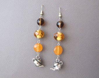 Apricot Tea Dangle  Earrings Orange Lampwork Glass Teapot Kettle Charm Boho Chic