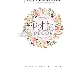 Wreath Logo, Boutique Logo, Round Logo, Floral Logo, Watercolor Logo, Business Logo, Premade Logo, Custom Logo Design, Round Logos