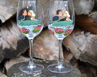 SALE Hand painted Wedding Toasting Flutes Set of 2 Personalized Wine glasses Groom and Bride on Boat pink waterlilies around them