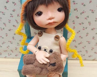 RAINBOW mohair hat, bear, Irrealdoll, stripes, Lati Yellow, 5-6, Pukifee, Mui Chan