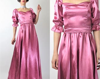 Vintage Pink Satin Evening Gown 70s does 40s Dress Formal Prom Dress Romantic Sweetheart Neckline Puffy Ruffle Sleeves Belted (XS) E7092