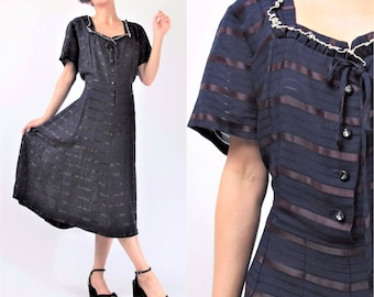 1940s Navy Blue Dress Vintage 40s Dress Sheer Striped Dress Blue Ruffle Dress Rhinestone Buttons Bow Short Sleeve Knee Length (L) E10018