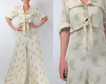 70s Wide Leg Jumpsuit Floral Paisley Print Jumpsuit Cream Pointy Collar Pantsuit Palazzo Pants Tie Waist Button Up Joseph Ribkoff S E101034