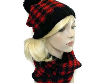 Buffalo Plaid Hat and Scarf Set, Red and Black Plaid Beanie, Lumberjack Print, Checked Scarf, Checkered Hat, Pom Pom Beanie, for Women