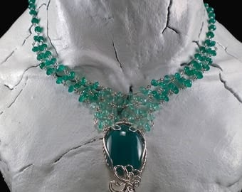 Sterling Silver & Green Onyx Ombre Necklace