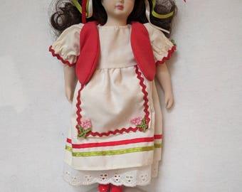 "Porcelain Doll - Hungary National Dress - 10"""