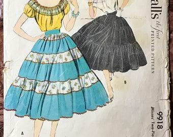 Uncut McCall's 1950's 2-Piece Dress Pattern # 9918 - Fiesta, Patio, Senorita - Peasant Top & Tiered Skirt - Size 20, Bust 38