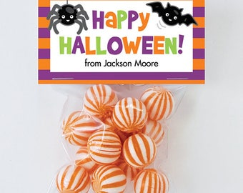 Halloween Treat Labels & Tags - Spider and Bat - Set of 24 personalized paper tags and 24 treat bags