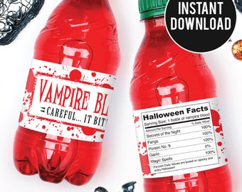 "INSTANT DOWNLOAD Halloween Drink Labels - ""Vampire Blood"" - DIY Printable Water or Soda Labels"