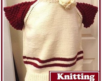 Knitting Pattern: Ladies' Pullover with Raspberry Stitch Cap Sleeve