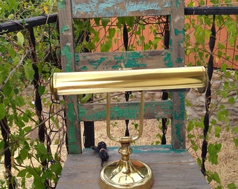 """Nice Vintage Working Adjustable Brass Banker's Desk Lamp, Piano or Library Lamp with Double Edison Like Bulbs measuring 14"""" x 16"""" x 8"""" ~"""