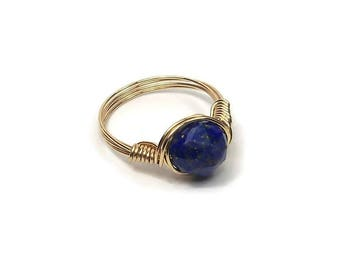 Lg Star Facet Lapis Lazuli 14k Yellow Gold Wire Wrapped Ring Custom Sized