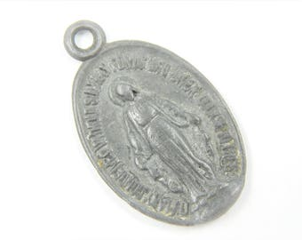 Large Vintage Miraculous Medal - French Congregation of the Children of Mary Catholic Charm - Our Lady of Grace - Religious Jewelry 055