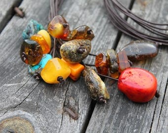 Raw Stone Leather Pendant Summer Fashion Jewelry Gemstone Cluster Necklace OOAK Long Huge Baltic Amber Orange Coral Red Black Honey Yellow