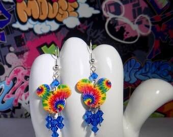 Mickey Mouse Tye Dye Double Sided Print Dangle Earrings