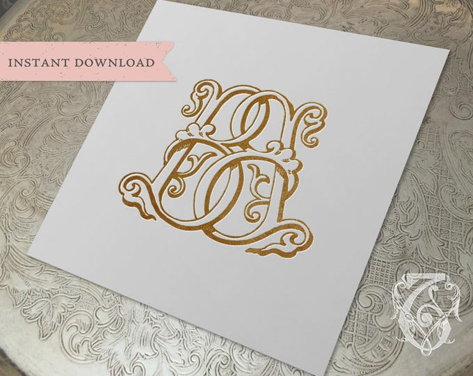 Vintage Wedding Monogram BB Digital Download double B