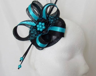 Black & Turquoise Blue Pheasant Curl Feather Sinamay and Pearl Isabel Wedding Fascinator Mini Hat Ascot Derby - Made to Order