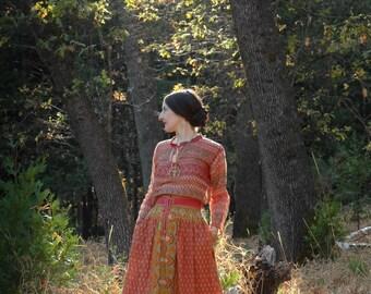 Boho Skirt... Bohemian Skirt... Cotton Skirt... French Skirt... Gypsy Skirt... Peasant Skirt... Folk Skirt... Mori Girl