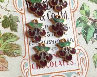 Vintage cherry charms,enameled cherries,Guilloche charms,enamel Charms,Enameled Charms,enameled connectors, Shabby chic Charms #G3C