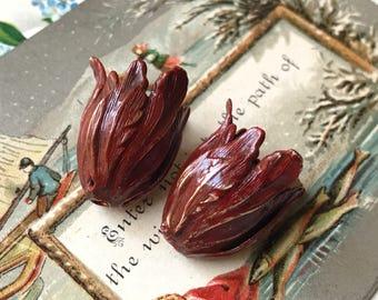 Red Patina Bead Caps, Vintaj bead caps bead caps, Leaf Petal beads, Tulip Bead caps, Artsy Blossom Large 22mm Antiqued Boho #1006T