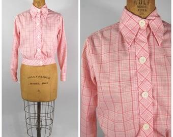 1970s Lightweight Pink and White Jacket - Windowpane Pattern - Big Lapels - Cropped Short Length - Laura Mae Life Press Windbreaker