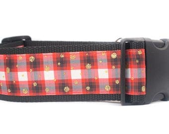 Red Plaid Dog Collar - 2 inch wide for large dogs - buckle or martingale collar - boy dog collar - rustic dog collar - buffalo plaid collar