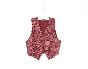 vintage silk vest * silk waistcoat * 80s layering vest * burgundy 1980s vest * large