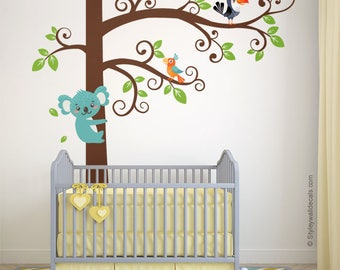 Koala Wall Decal, Tree Wall Decal, Tree and Koala Wall Decal Sticker, Koala Bear Parrots Wall Sticker, Koala Kids Baby Nursery Decor Decal