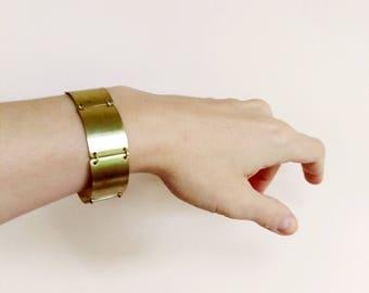 Metal Cuff Bracelet, Gold Cuff Bracelet, Brass Cuff Geometric Beacelet