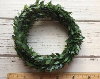 Miniature Holly Roping, 12 Feet, Dollhouse Accessory, Decor, Miniature Holly Garland, Crafts, Holiday Decoration