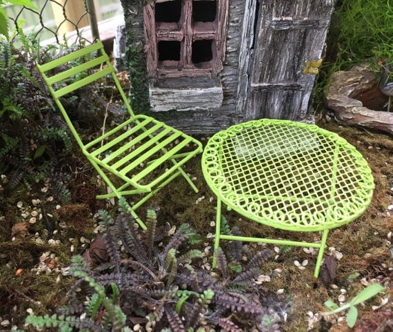 Mini Metal Fairy Garden Furniture, Green Table and Chair Set, 2 Pcs, Mini Patio Set,  Garden Decor, Fairy Garden Accessory, Topper