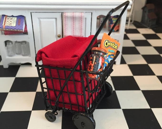 Featured listing image: Miniature Grocery Cart with Red Bag, Dollhouse Miniature, 1:12 Scale, Mini Cart With Wheels, Dollhouse Decor, Accessory, Crafts, Topper