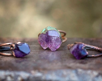 amethyst crystal point + copper ring | natural rough gem stone | raw stone | purple | February birthstone | amethyst ring | OOAK Uruz Metals