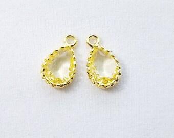 2 pc, 12x7mm, Jonquil Lemon Yellow Teardrop Pendant Charm Dangle, Gold Rim - PC-0228