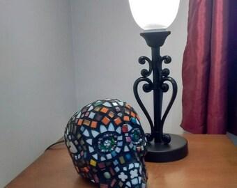 Sugar skull mosaic - mosaic art - mixed media mosaic - skull art - mosaic skull art - day of the drad - skull art - sugar skull gift + skull