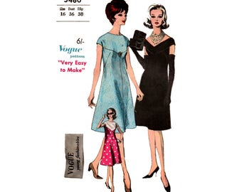 Vogue 5480 Young Fashionables Evening Dress 60s Vintage Sewing Pattern Size 16 Bust 36 inches UNUSED Factory Folded