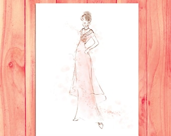 Audrey Hepburn Art Print, My Fair Lady Pink Fashion Sketch, Movie Costume, Movie Star Art, Watercolor Fashion Illustration, Hepburn Wall Art