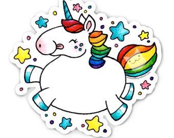 Happy Unicorn Sticker  - Die Cut Vinyl - Weather Resistant - UV Protected - rainbow fantasy