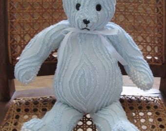 Handmade Chenille Teddy Bear from Vintage Bedspread 15 inch