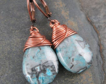 Crazy Lace Briolette and Copper Lever Back Earrings - Blue Tear Drop Dangles